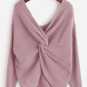 front Twist Pink Sweater